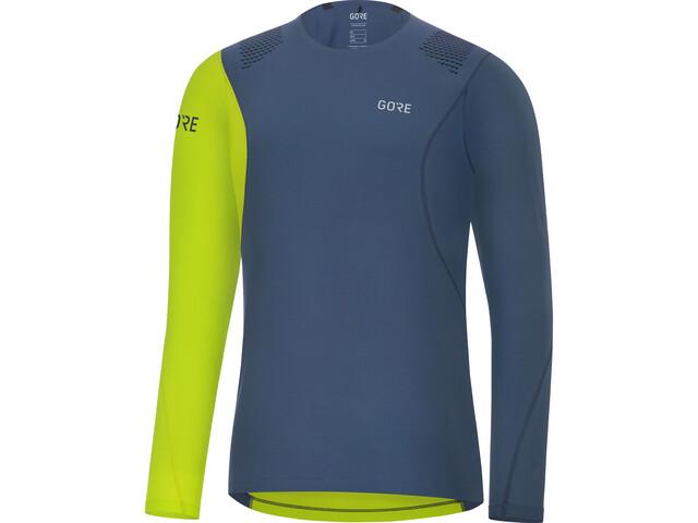 GORE WEAR R7 Koszulka do biegania z długim rękawem Mężczyźni zielony/niebieski